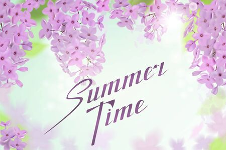 Summer background with pink and purple flowers of lilac. Lettering Summer Time