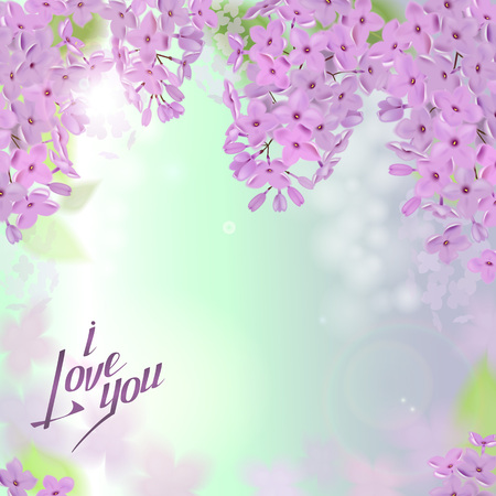 Spring background with pink and purple flowers of lilac. Can be used for background, wallpaper, greeting card web banner. Illustration