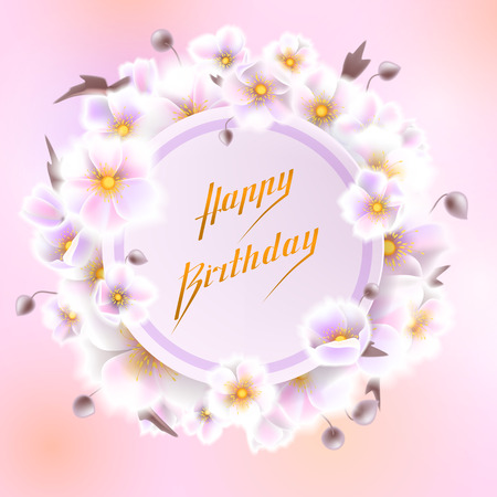 Greeting card, can be used as invitation card for wedding, birthday and other holiday and summer, spring background. Round frame for text flower, delicate wreath. Vector EPS10