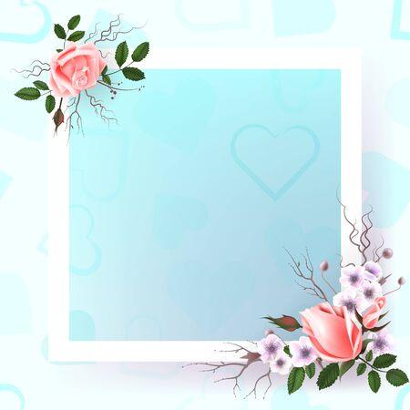 Hermoso Marco Cuadrado Con Flores Puede Ser Utilizado Como
