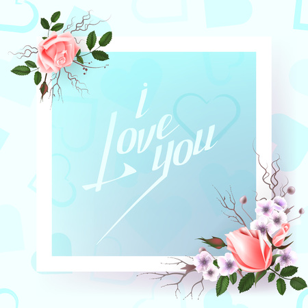 Card with a bouquet of roses and other flowers and hand lettering inscription i love you For posters, postcards, home decorations. Vector illustration. Illustration