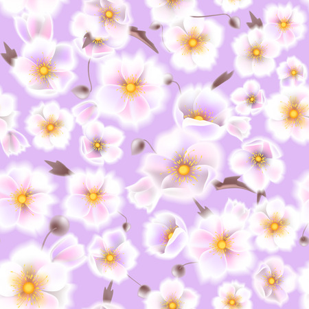 Seamless soft pattern with anemones. Delicate white flowers and brown twigs in vintage watercolor style. Vector illustration EPS10