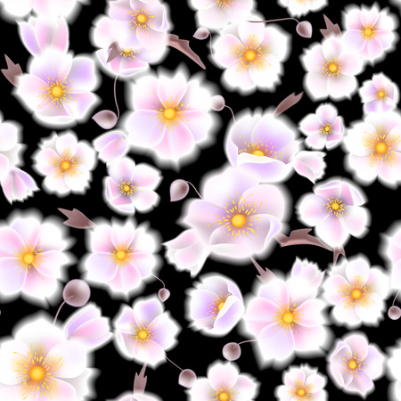 comely: Seamless soft pattern with anemones. Delicate white flowers and brown twigs in vintage style. Vector illustration EPS10 Illustration