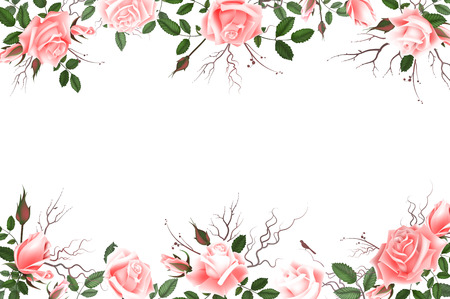Greeting card with roses, delicate buds, flowers, branches. Can be used as invitation card for wedding, birthday and other holiday and summer background. Vector illustration EPS10 Illustration