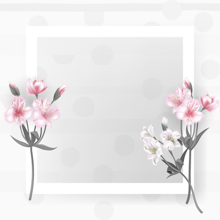 Greeting card with Alstroemeria can be used as invitation card for wedding, birthday and other holiday and summer background. Vector illustration. Illustration