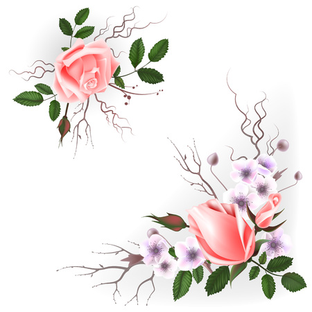 Bouquet of pink roses, delicate buds, flowers, branches. Can be used as greeting card, invitation card for wedding, birthday and other holiday and spring, summer background. Vector illustration EPS10.