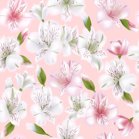 Beautiful alstroemeria on seamless pattern. Spring and summer background. Vector illustration.
