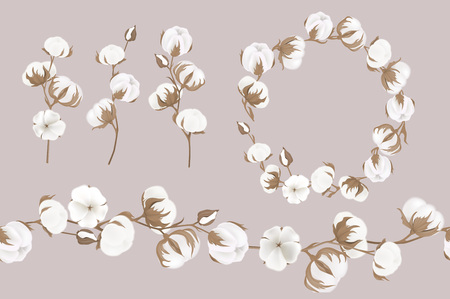 A vector wreath of twigs and cotton flowers. Botanical illustrations. Greeting card.