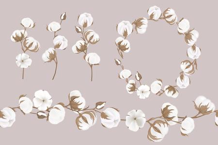Une guirlande de vecteur de brindilles et de fleurs de coton. Illustrations botaniques. Carte de voeux.