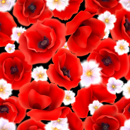 Seamless pattern with red poppy flowers Illustration