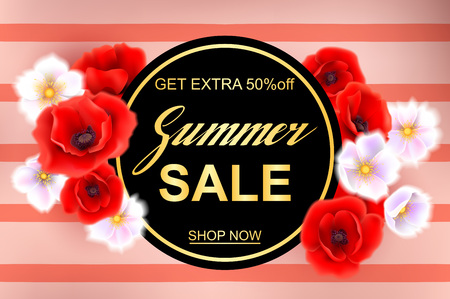 Advertisement about the summer sale on background with beautiful advertisement about the summer sale on background with beautiful poppy flowers lettering calligraphy mightylinksfo