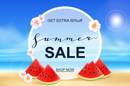 Summer sale banner design template. Seasonal discount advertisement on blury beach with fresh watermelon pieces and flowers. Vector illustration