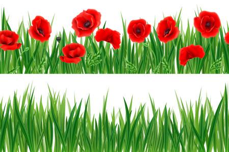 Tři horizontální bezešvé vzory s trávou a květinami