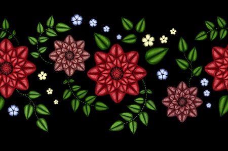 Embroidery horizontal colorful floral seamless pattern. Vector traditional folk dog roses and forget me not flowers ornament on black background. Stock Photo