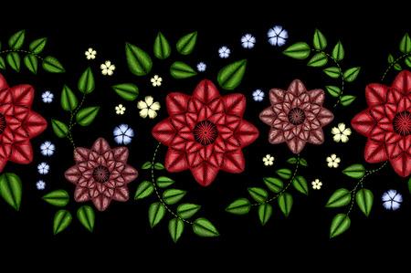 Patrón transparente floral colorido horizontal del bordado. Vector las rosas tradicionales del perro de la gente y olvídeme no ornamento de las flores en fondo negro.