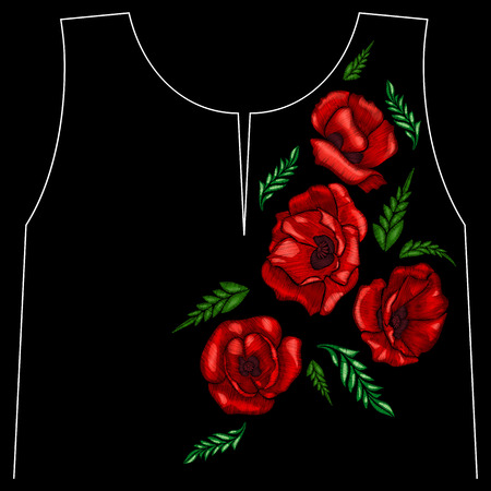 Embroidery poppies flowers. Patch for womens, girls T-shirts. Vector illustration. Graphic tee.
