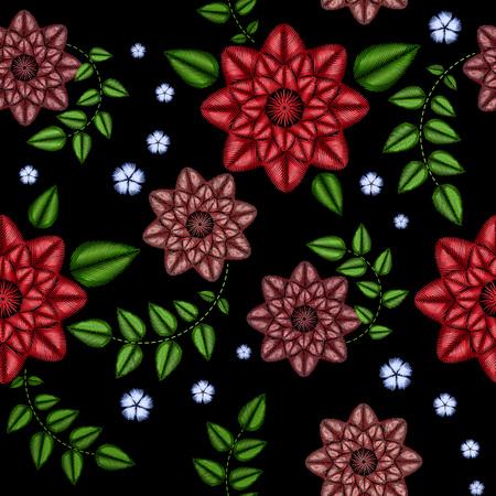 Patrón transparente de bordado con hermosas flores. Vector ornamento floral sobre fondo negro. Bordados para textiles y tejidos de moda.