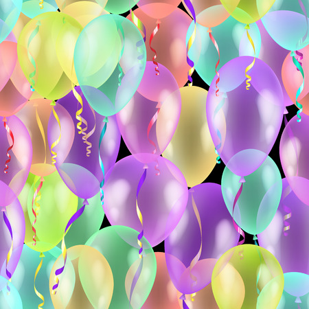 Balloons seamless pattern background, beautiful colorful illustration, eps10, contains transparencies. Vector Illustration