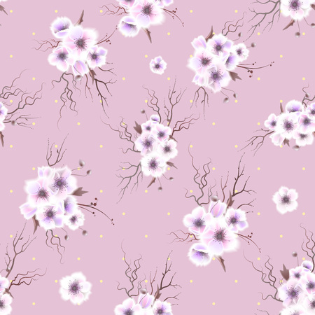 Seamless pattern with a Anemone flowers. Vector illustration