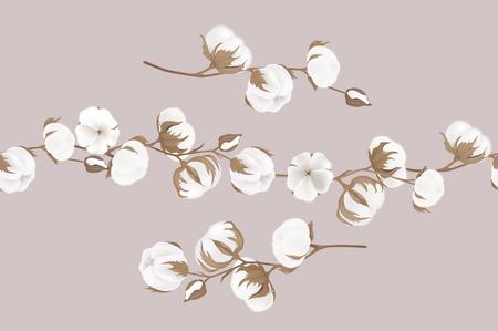 Katoenen bloemen. Botanische illustraties Wenskaart Stock Illustratie