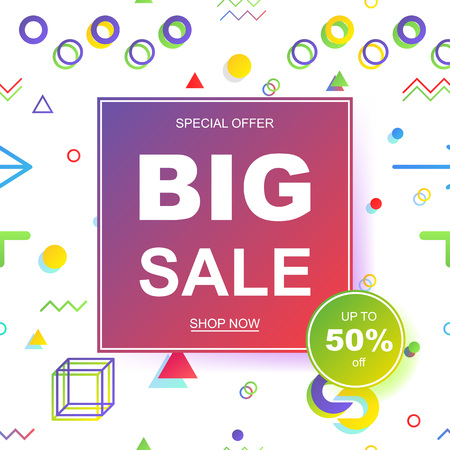 Sale banner template design. Geometric pattern in the Memphis style, 80s, 90s. EPS10 Vector illustration.