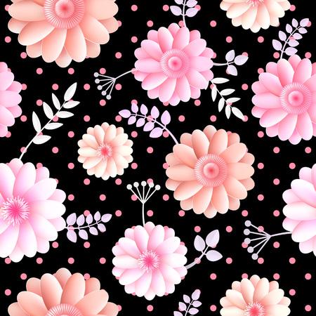 Vector flowers seamless pattern illustration. Vettoriali