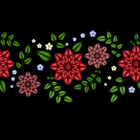 Embroidery horizontal colorful floral seamless pattern. traditional folk dog roses and forget me not flowers ornament on black background.