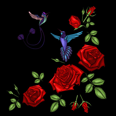 Embroidery ethnic flowers neck line flower design graphics fashion wearing. Red roses and little birds, hummingbirds