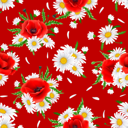 Seamless Pattern with Poppies and Chamomile.