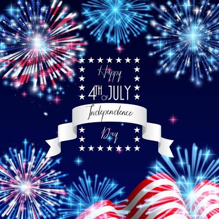 4 de julio, diseño de volante, pancarta, plantilla o invitación de celebración del Día de la Independencia de Estados Unidos con bandera nacional y fuegos artificiales brillantes. Ilustración de vector