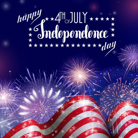 4th of July, American Independence Day celebration background with fire fireworks. Congratulations on Fourth of July. Ilustrace