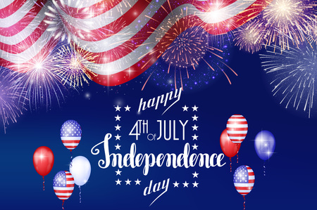 4th of July, American Independence Day celebration background with fire fireworks. Congratulations on Fourth of July. Иллюстрация