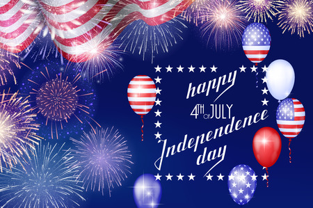 4th of July, American Independence Day celebration background with fire fireworks. Congratulations on Fourth of July. Illustration