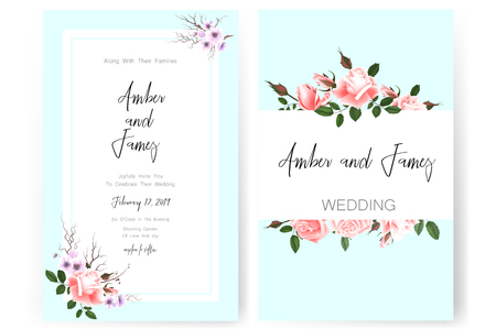 Save the date card, wedding invitation, greeting card with beautiful flowers and letters Ilustrace
