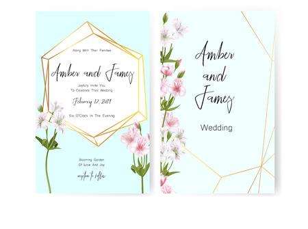 Save the date card, wedding invitation, greeting card with beautiful Alstroemeria flowers and letters