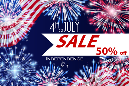 4th of July, American Independence Day Sale celebration Flyer, Banner, Template or Invitation design with National Flag and Sparkling Fireworks.