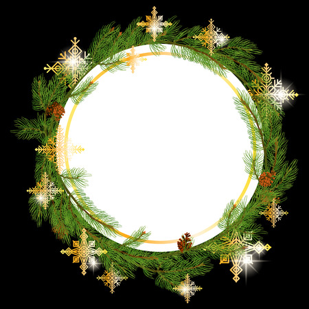 Christmas Wreath Made of Naturalistic Looking Pine Branches Decorated with Gold Stars and Bubbles. Illustration