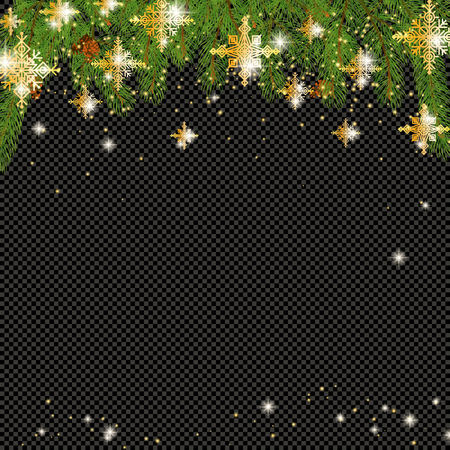 Christmas tree border with holiday decor
