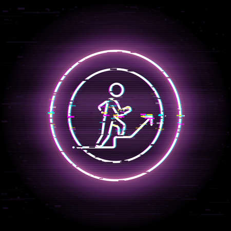 Glitched stick walk up. Business growth scalable vector icon in modern distorted glitch style. Glitch elements vector illustration.