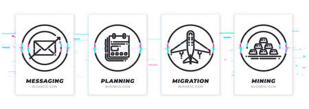 Messaging, planning, migration, mining. Business theme glitched black icons set. Scalable vector objects on transparent background. Modern distorted glitch style.