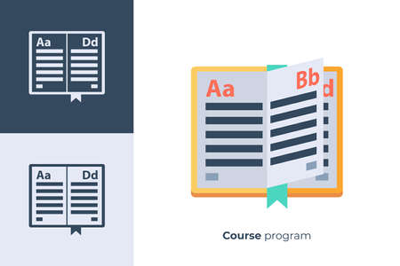 Vector icon of school book in flat style.