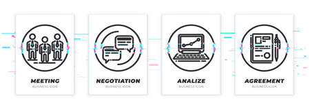 Business theme glitched black icons set. Scalable vector objects on transparent background. Modern distorted glitch style. Team, conversation, notebook, contract.