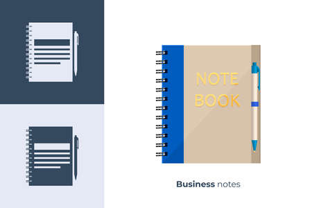 Vector icon of business notebook in flat style