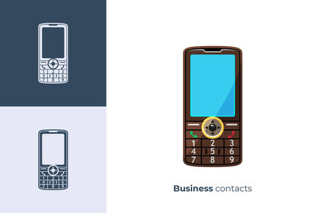Vector icon of mobile phone in flat style
