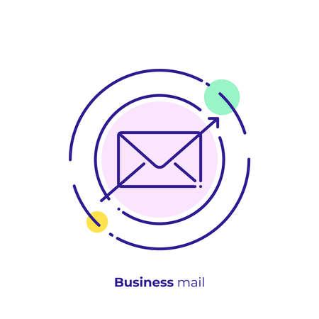 Business message line art icon, digital special offer vector art, outline online subscription illustration