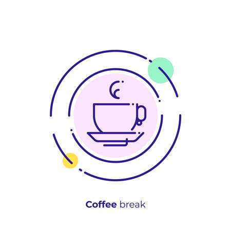 Tea time line art icon, coffee brake vector art, outline take a rest illustration