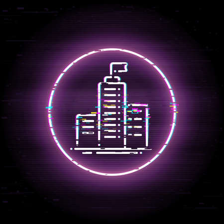 Glitched headquarters. Business center. Scalable vector icon in modern distorted glitch style. Glitch elements vector illustration. 일러스트