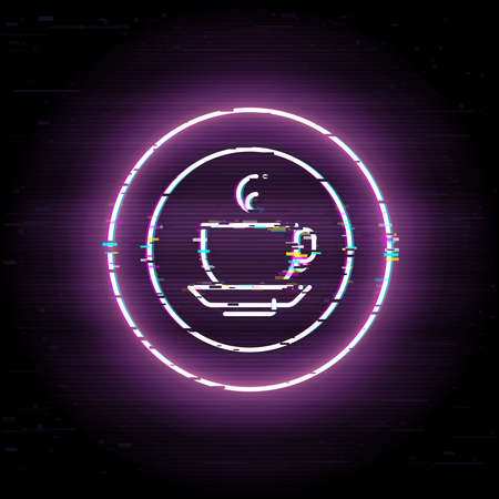 Tea time glitched icon, coffee brake vector art, glitch take a rest illustration