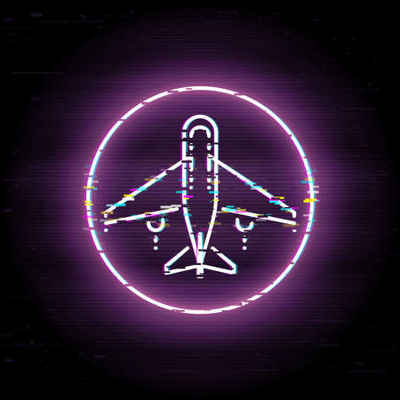 Airplane glitched icon, business trip vector art, glitch commercial flight illustration Иллюстрация