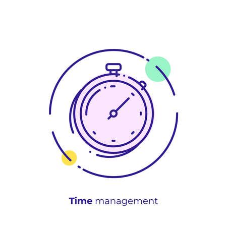 Finance timemanagement line art icon, business clocks vector art, outline digital turnaround time illustration Illusztráció